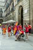 BARCELONA SPANIEN - SEPTEMBER 11, 2014: Manifestating inde för folk Royaltyfri Bild