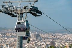 BARCELONA, SPANIEN - 26. September 2018: Teleferic de Montjuic herein stockfoto