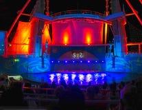 Barcelona Spanien - September 06, 2015: Tjusningen för kryssningskeppet av haven ägde den kungliga karibiska internationalen Royaltyfri Foto