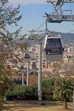 Barcelona, Spanien Teleferic de Montjuic (obenliegende Kabelweisen), Ansicht von der Drahtseilbahn Stockbilder