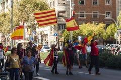 Barcelona Spanien, 8th Augusti 2017: Demonstration för enhet med Spanien Fotografering för Bildbyråer