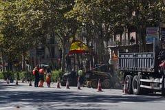 Barcelona Spanien, 8th Augusti 2017: Demonstration för enhet med Spanien Royaltyfri Bild