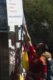 Barcelona Spanien, 8th Augusti 2017: Demonstration för enhet med Spanien Royaltyfria Foton