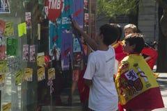 Barcelona Spanien, 8th Augusti 2017: Demonstration för enhet med Spanien Arkivbild