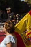 Barcelona Spanien, 8th Augusti 2017: Supportrar för enhet med den Spanien waen Arkivfoto