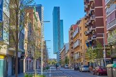 Barcelona, Spanje - April 07, 2019: Gebouwen van Barcelona, Spanje royalty-vrije stock afbeelding