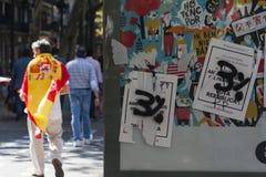 Barcelona, Spanje, 8 Augustus 2017: Affiche voor onafhankelijkheidsreferendum Stock Fotografie