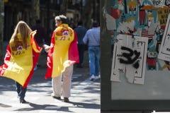 Barcelona, Spanje, 8 Augustus 2017: Affiches voor onafhankelijkheidsreferendum Royalty-vrije Stock Fotografie