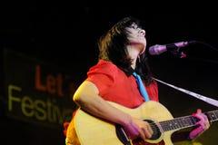 De band van La Bien Querida presteert in Salamadra Stock Fotografie
