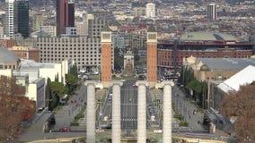 BARCELONA, SPANJE - CIRCA 2019: Ochtend in Barcelona Plaza DE Espana, Plein van Spanje, Barcelona, Spanje stock footage