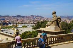 Barcelona, Spanje, cityscape van Montjuic-berg royalty-vrije stock foto