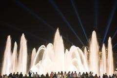 Barcelona Spanje: de Magische Fontein Royalty-vrije Stock Afbeeldingen