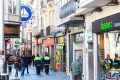Het winkelen straat van Badalona. Barcelona Stock Foto