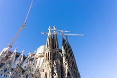 BARCELONA SPANJE - 9 Februari, 2017: Kerk, Basiliek in Barcelona Stock Foto's
