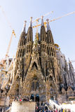BARCELONA SPANJE - 9 Februari, 2017: Kerk, Basiliek in Barcelona Stock Foto