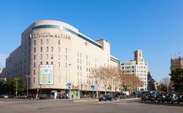 Mening van Barcelona, La Corte Ingles stock afbeelding