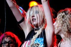 Taylor Momsen, frontwoman van Vrij Roekeloze band en van de Roddel TV van het Meisje toont actrice stock afbeelding
