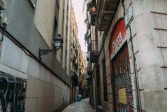 BARCELONA, SPANJE - JUNI 30 De hoofdstraat via Laietana is de naam van een belangrijke doorgang in Barcelona op 30 Juni Royalty-vrije Stock Fotografie