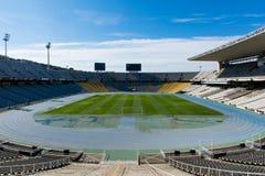 BARCELONA, SPANJE - Maart 18, 2018: Lege Estadi Olimpic Llui stock foto