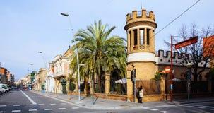Oude schilderachtige straten van Badalona. Barcelona Royalty-vrije Stock Fotografie