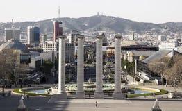 Barcelona, Spanje (mening van Montjuich-berg) Stock Foto