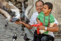 Barcelona/Spanje - Oct /2018: De volwassen Latijnse mens met een jongen op knieën voedt de duiven op de stadsstraat Het gelukkige royalty-vrije stock afbeelding