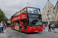 Barcelona, Spanje - 24 September 2016: Hop op Hop van toeristenbus in Barcelona Royalty-vrije Stock Afbeelding