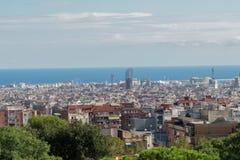 Barcelona, Spanje - 24 September 2016: Panorama van Aardvierkant bij de Monumentale Streek van Parkguell Stock Afbeelding