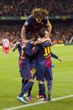 Barcelona-Spieler, die ein Ziel feiern Lizenzfreie Stockfotografie
