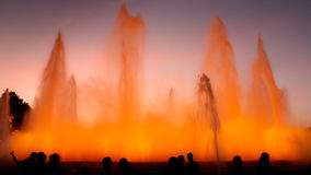barcelona springbrunn magiska montjuic spain Arkivfoto