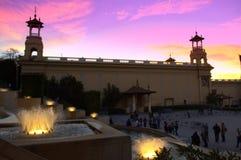 Barcelona springbrunnar på solnedgången Fotografering för Bildbyråer