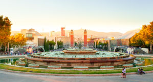 Barcelona, square of Spain in the evening, Plaza de Espana Stock Photography