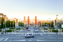 Barcelona, square of Spain in the evening, Plaza de Espana. Square of Spain in Barcelona with two Venetian towers in red brick in the evening on the Sunset Stock Image