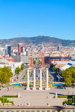 Barcelona, square of Spain, Plaza de Espana. Square of Spain in Barcelona with two Venetian towers in red brick and columns in the foreground, Plaza de Espana Royalty Free Stock Images