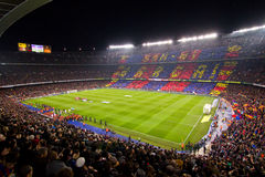 Barcelona stadium. BARCELONA - JANUARY 25: Panoramic view of Camp Nou stadium before the Spanish Cup match between FC Barcelona and Real Madrid, 2 - 2, on Royalty Free Stock Photos
