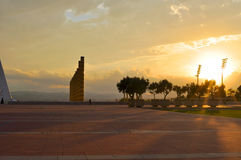 Barcelona stadium in sunset. With huge pipes royalty free stock photos