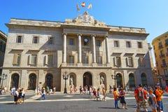 Barcelona stadshus i den gotiska fjärdedelen i Spanien Fotografering för Bildbyråer