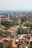 Barcelona stadssikt från det Sagrada Familia tornet, Barcelona Fotografering för Bildbyråer