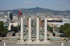 Barcelona stadssikt från nationell slott Arkivbilder