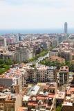 Barcelona stadssikt från Sagrada Familia, Barcelona Royaltyfria Foton