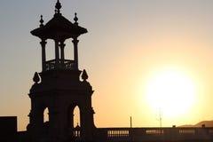 Barcelona stadssolnedgång Fotografering för Bildbyråer