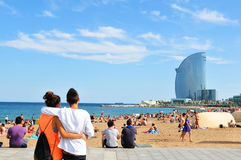 barcelona strand Royaltyfri Foto