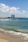 Barcelona strandpanorama, Spanien Royaltyfria Bilder