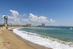 Barcelona strandpanorama, Spanien Fotografering för Bildbyråer