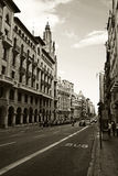 Barcelona street. City street in old town, Barcelona, Spain royalty free stock photography