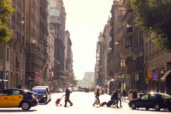 Barcelona street, Catalunya road landscape. Spain. Barcelona city lifestyle. Barcelona road view, city travel concept. Travel and explore Barcelona royalty free stock images