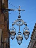 Barcelona street lamp. Barcelona public light lamp in a blue sky day Royalty Free Stock Photos