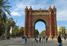 Barcelona street near Arc de Triomf Stock Photo