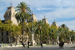 Barcelona street with palm trees Stock Photography