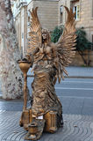 BARCELONA .Street Performer imitating statue fairy Royalty Free Stock Photography